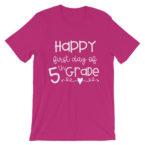 Berry Pink First Day of 5th Grade tee