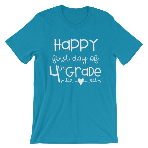 Aqua Blue First Day of 4th Grade teacher tee