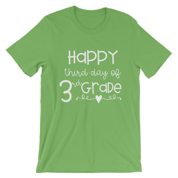Kelly green Happy Third Day of 3rd Grade tee