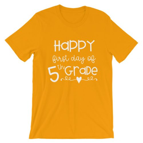 Gold First Day of 5th Grade tee