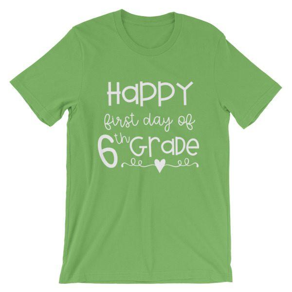 Leaf green First Day of 6th Grade teacher tee