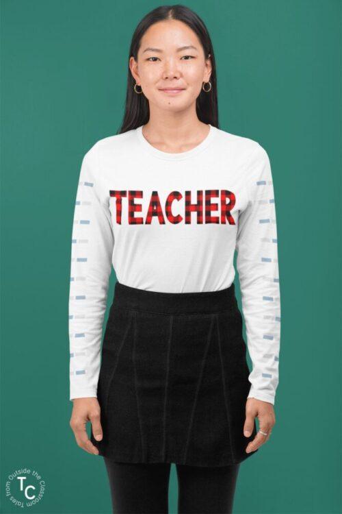 Model with Buffalo Plaid Teacher design on white long sleeve tee