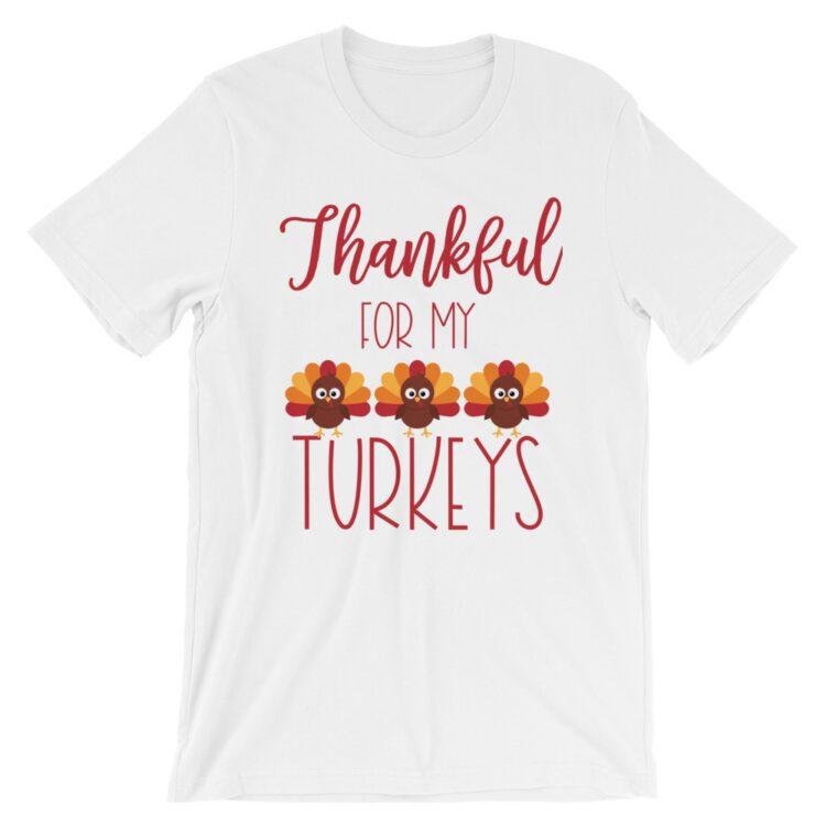 Thankful for my Turkeys short sleeve unisex teacher tee