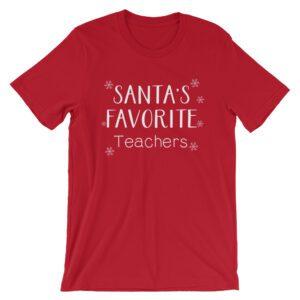 Santa's Favorite Teachers tee- Red
