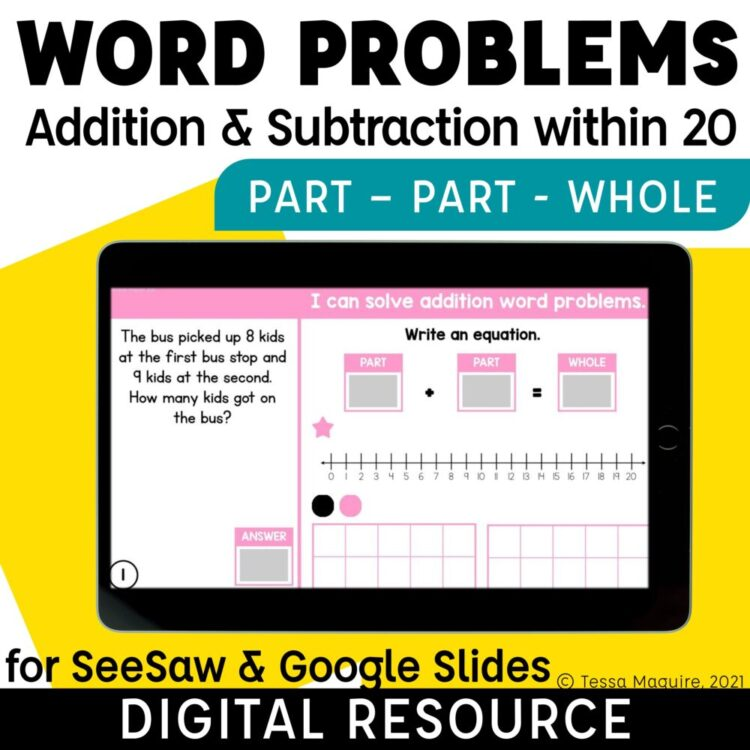 Part Part Whole Word Problems Addition and Subtraction within 20
