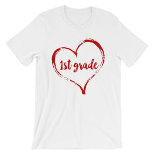 Love 1st Grade tee- White and Red