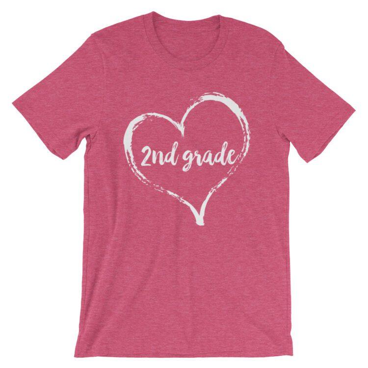 Love 2nd Grade tee- Heather Raspberry