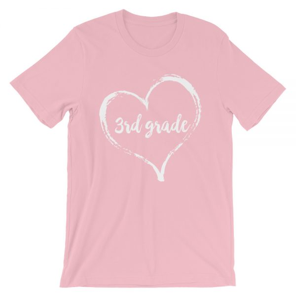 Love 3rd Grade tee- Pink with white