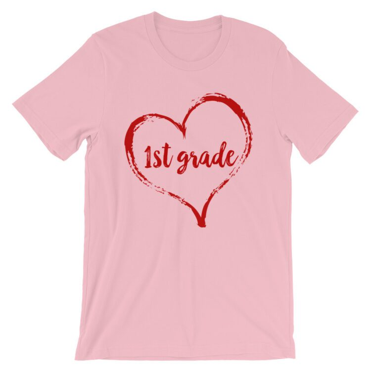 Love 1st Grade tee- Pink with red
