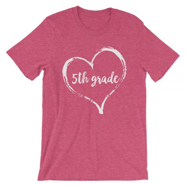 Love 5th Grade tee- Heather Raspberry Pink