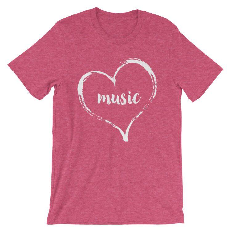 Love Music tee- Heather Raspberry Pink