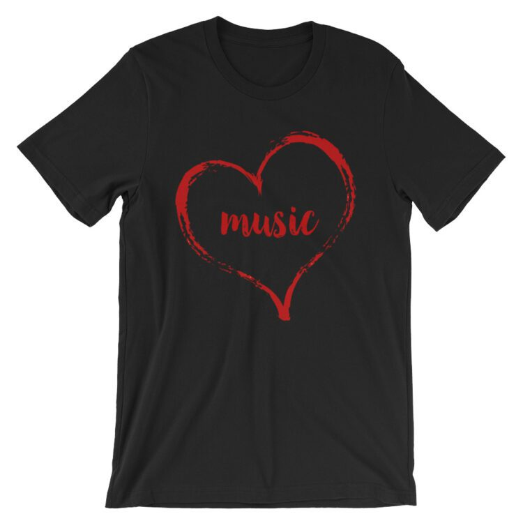 Love Music tee- Black with red