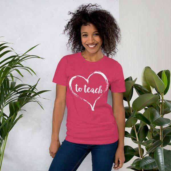 Love to Teach tee- Heather Raspberry Pink