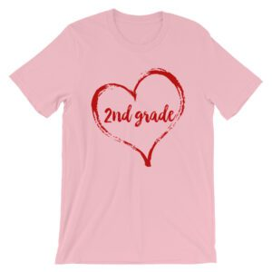 Love 2nd Grade tee- Pink with Red