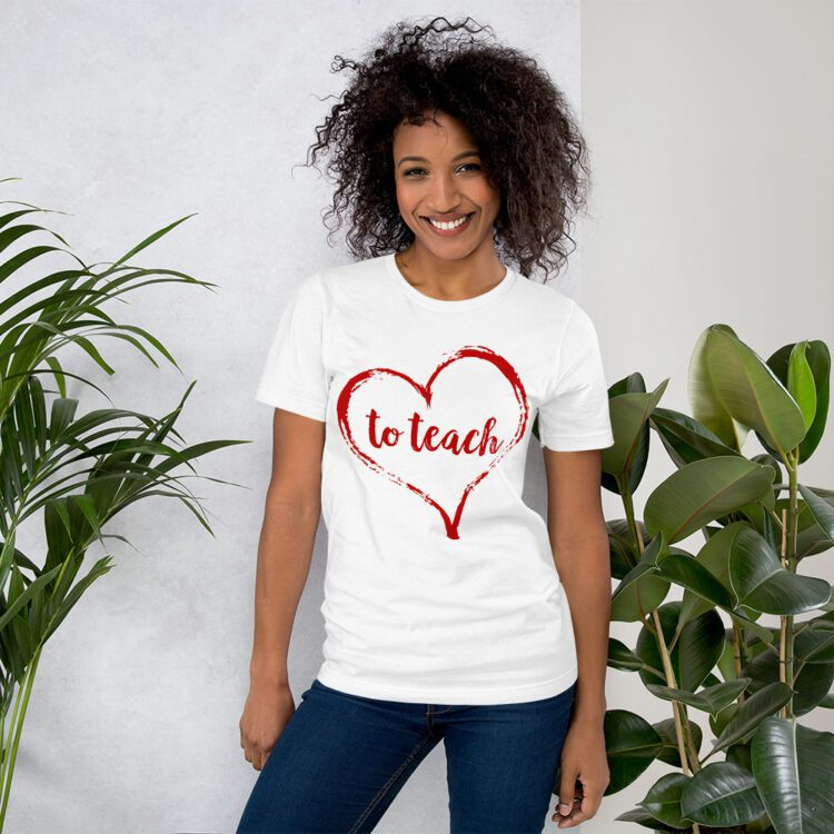 Love to Teach tee- White and red