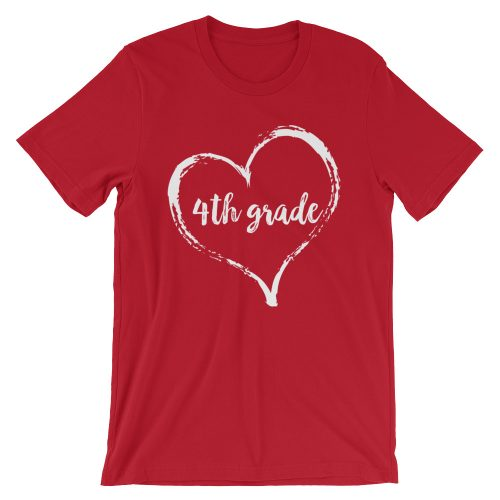 Love 4th Grade tee- Red with white