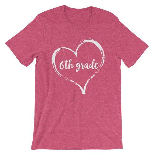 Love 6th Grade tee- Heather Raspberry Pink
