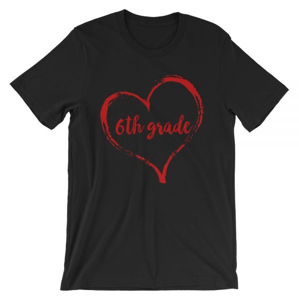 Love 6th Grade tee- Black with Red