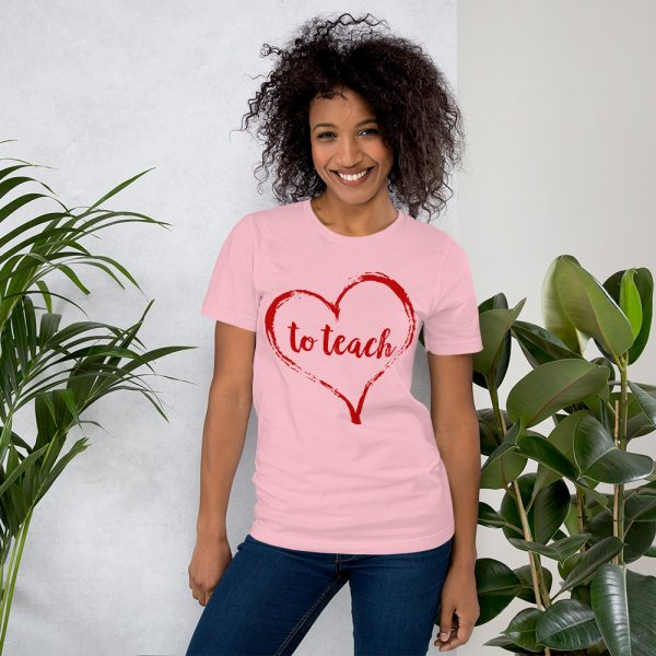 Love to Teach tee- Pink and red