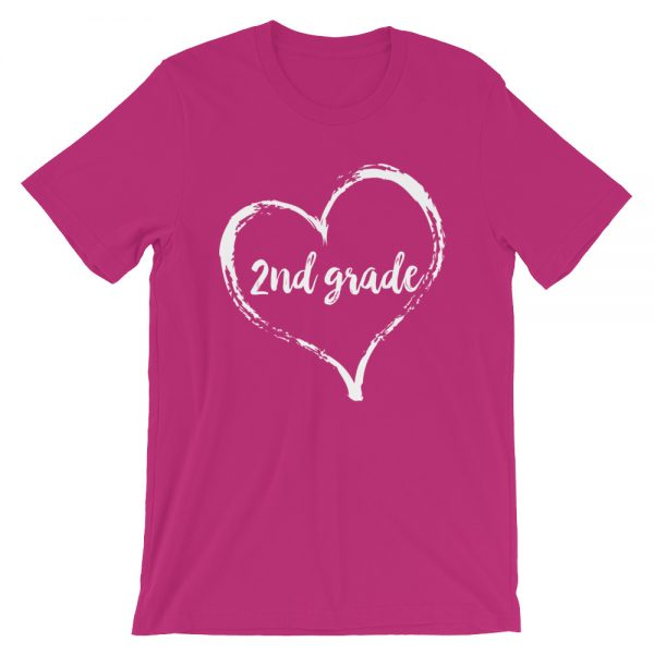 Love Second Grade tee- Berry Pink with white