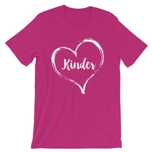 Love Kinder tee- Berry with white