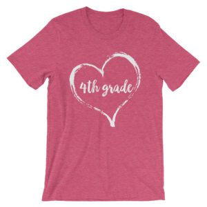 Love 4th Grade tee- Heather Raspberry Pink