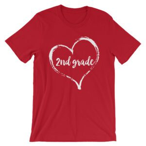 Love Second Grade tee- Red with white