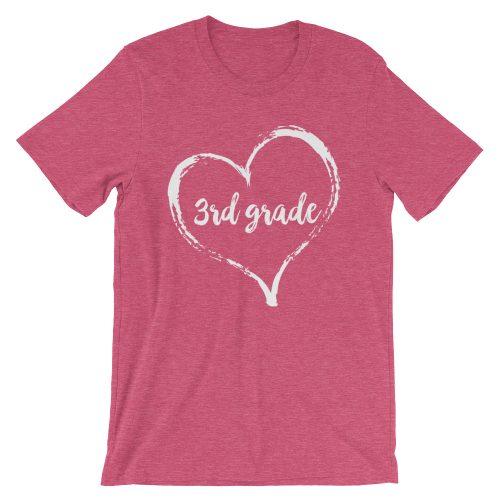 Love 3rd Grade tee- Heather Raspberry Pink