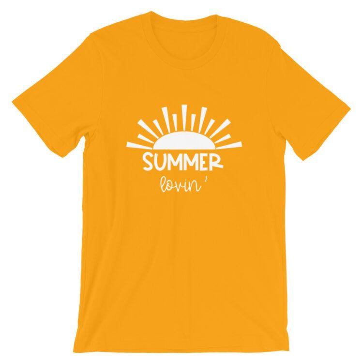Gold Summer Lovin' teacher tee