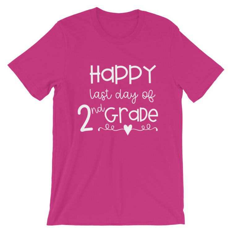 Berry Pink Last Day of 2nd Grade tee