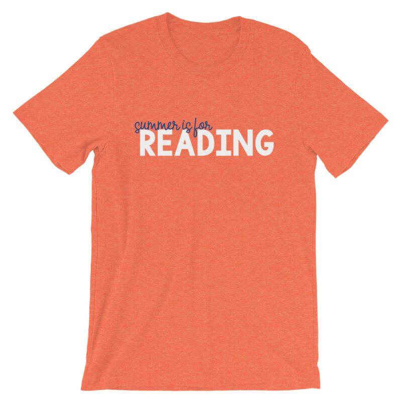 Heather Orange Summer is for Reading tee