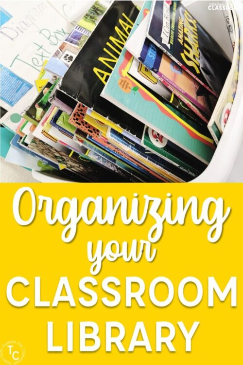 Organizing your classroom library book bin image