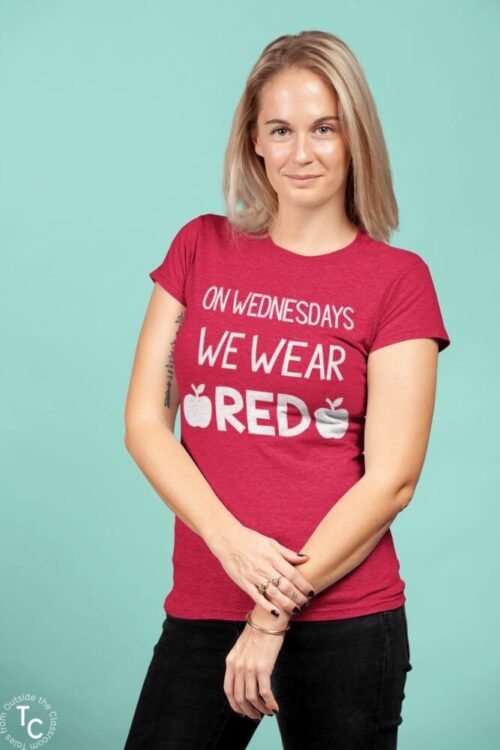 Woman's Red for Ed Teacher tee