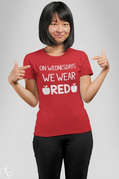 Red for Ed Wednesday tee woman