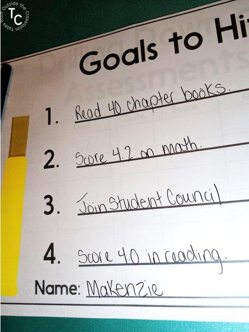 Student goals in goal setting workbook