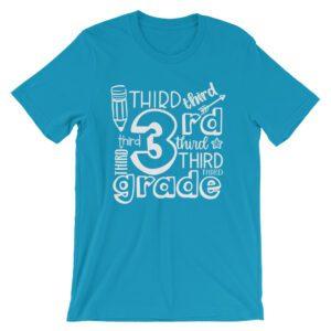 3rd Grade Doodle Teacher Tee Aqua