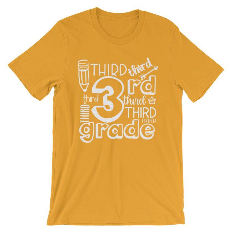 Mustard Yellow Doodle 3rd Grade Teacher Tee