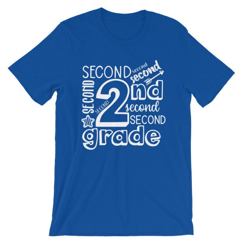Royal Blue Doodle 2nd Grade Teacher Tee