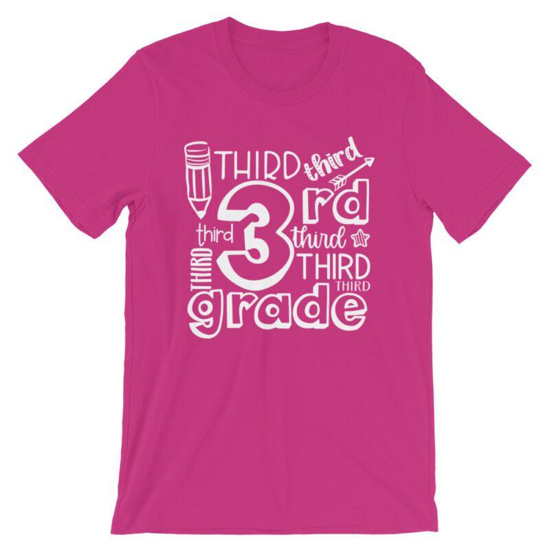 Berry Pink Doodle 3rd Grade Teacher Tee