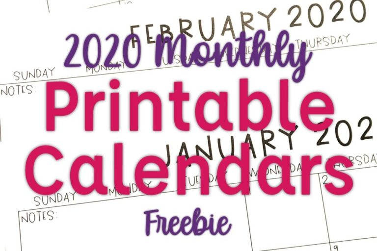 Monthly 2020 Calendars- printable calendars, editable calendars, calendar gifts for parents from students