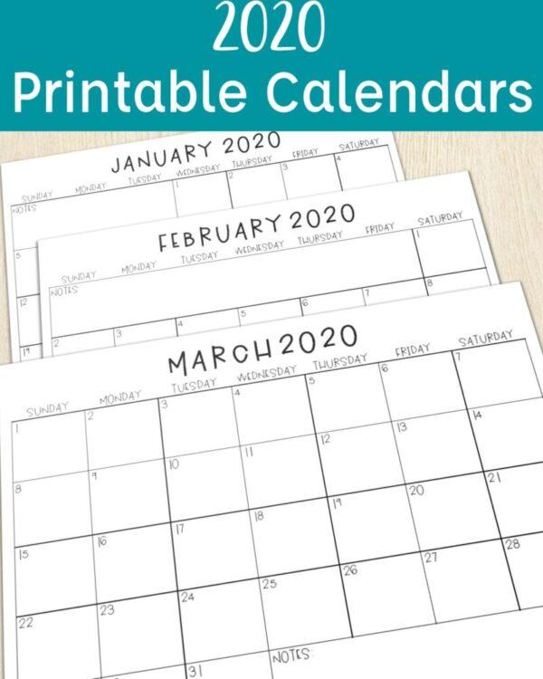 2020 Printable Calendars for the Classroom