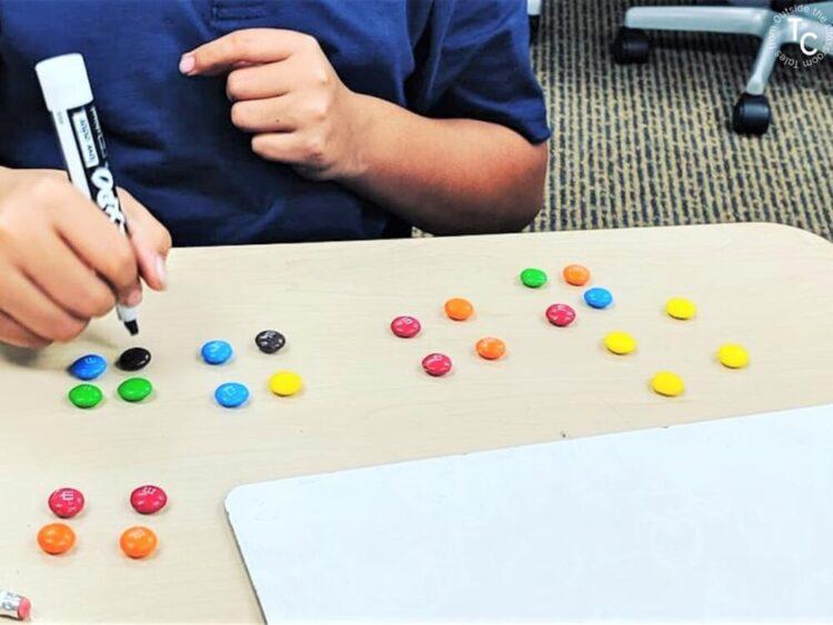 multiplication group arrangements with M&M's