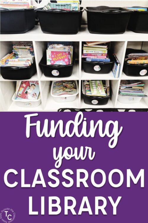 Funding your classroom library text with book bins image