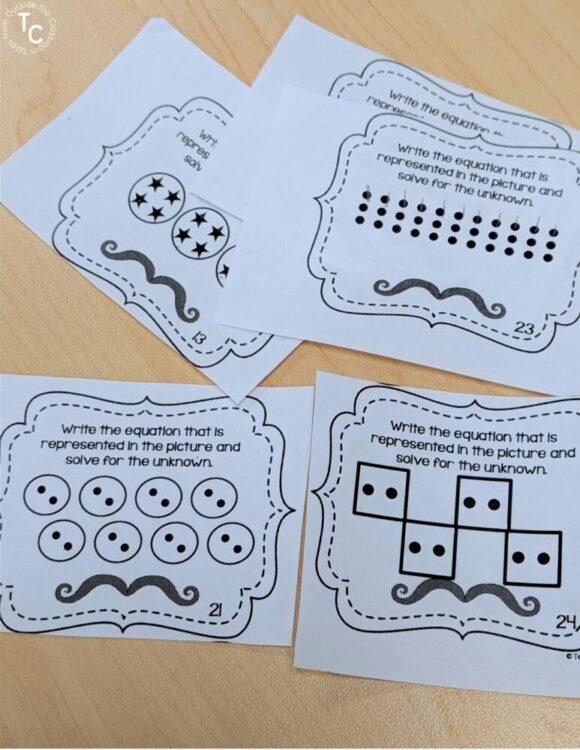 Multiplication equal groups task cards image