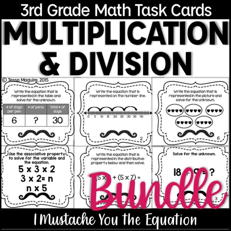 Multiplication and Division Task Cards bundle product cover