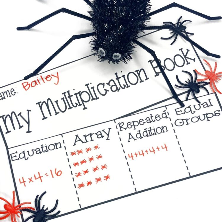 Multiplication strategies flip book with spiders
