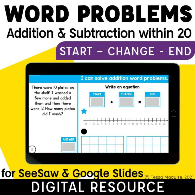 Word Problems for Addition & Subtraction within 20: Start Change End
