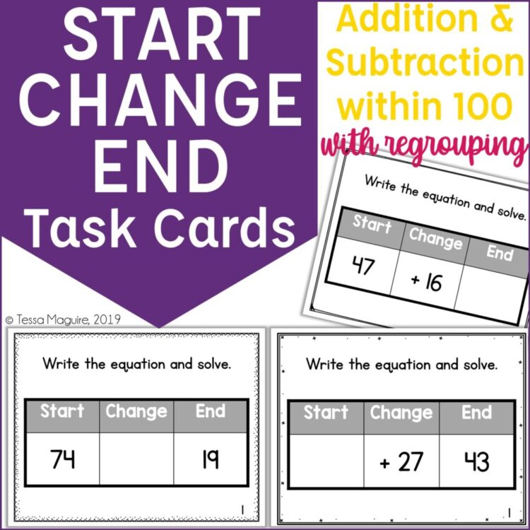 Start Change End within 100 with Regrouping task cards
