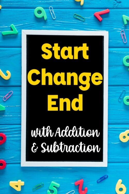Start Change End with Addition and Subtraction board with magnetic tile numbers