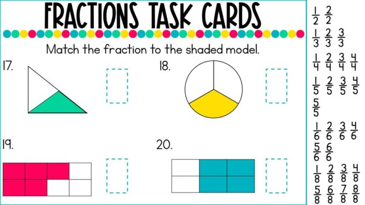 Introduction to Fractions digital task cards